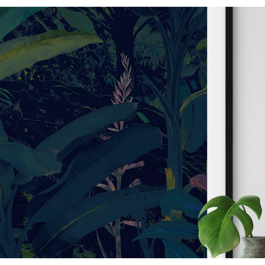 Affiche deco illustration jungle luxuriante