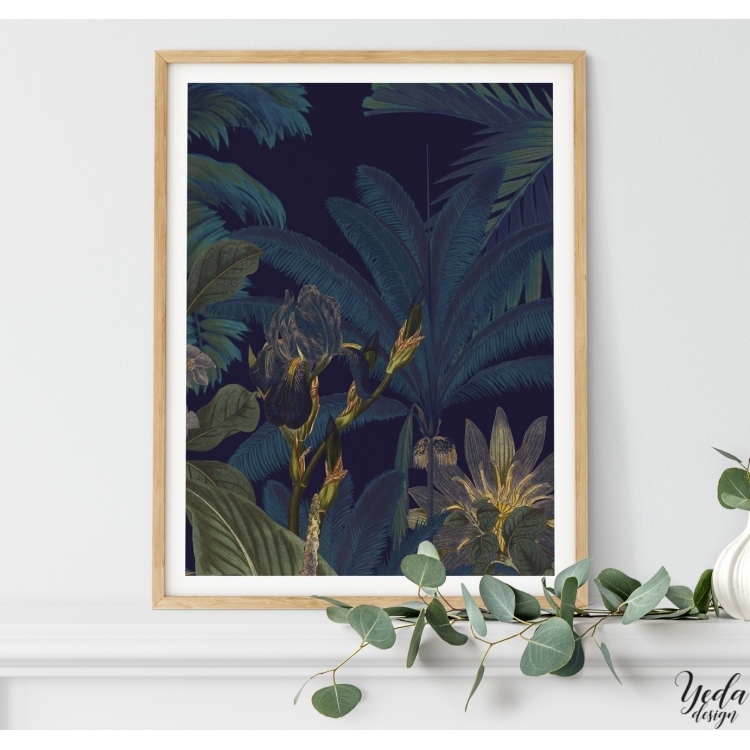 Affiche déco illustration jungle paysage exotique