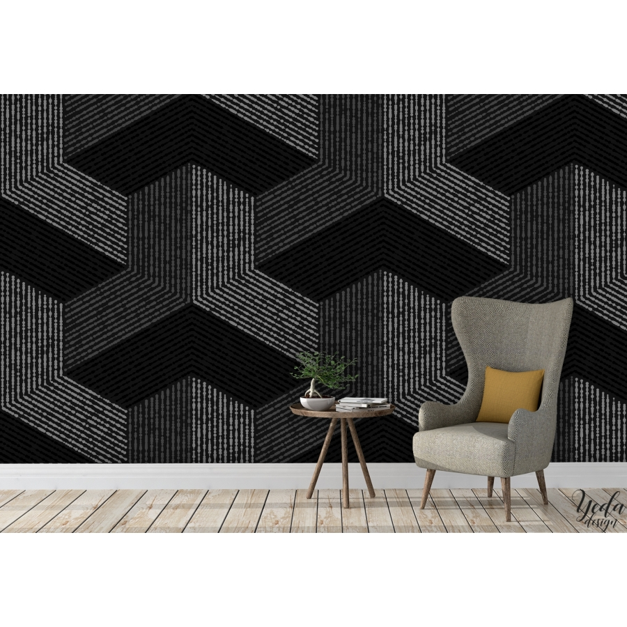yeda design papier peint graphiques cubes design. Black Bedroom Furniture Sets. Home Design Ideas
