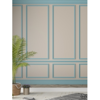 yeda design papier peint trompe l il mur avec moulures bleu ciel. Black Bedroom Furniture Sets. Home Design Ideas