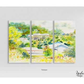 Tableau Illustration Petit Village Tropicale